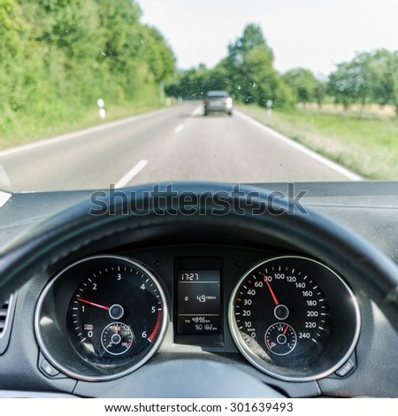 HEIDELBERG, GERMANY Circa July 2015: driving the car - stock photo