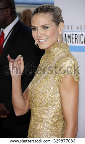 Heidi Klum at the 2012 American Music Awards held at the Nokia Theatre L.A. Live in Los Angeles, USA on November 18, 2012. - stock photo