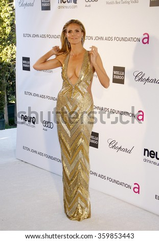 Heidi Klum at the 21st Annual Elton John AIDS Foundation Academy Awards Viewing Party held at the West Hollywood Park in Los Angeles, USA on February 24, 2013. - stock photo