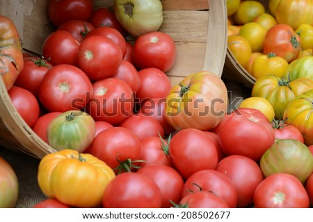 Heirloom Tomatoes at a Farmer's Market - stock photo