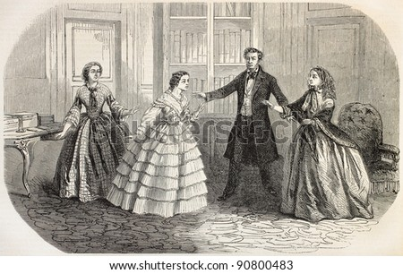 Helene Peyron representation Odeon Theater, Paris. Drama by Louis Bouilhet. Fifth act. Created by Gaildrau, published on L'Illustration, Journal Universel, Paris, 1858 - stock photo