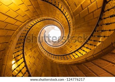 Helical staircase in Santo Domingo de Bonaval. Santiago de Compostela, Spain - stock photo