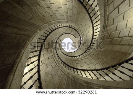 Helical stairs in Santo Domingo de Bonaval. Santiago de Compostela, Spain - stock photo