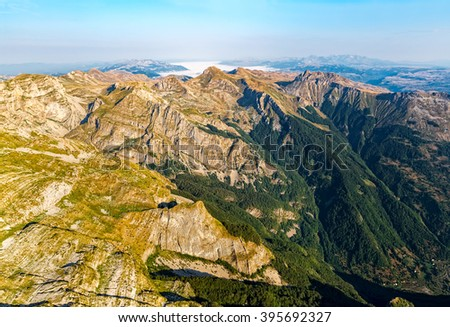 Helicopter aerial photo at Durmitor national park in the Montenegro continental part. - stock photo