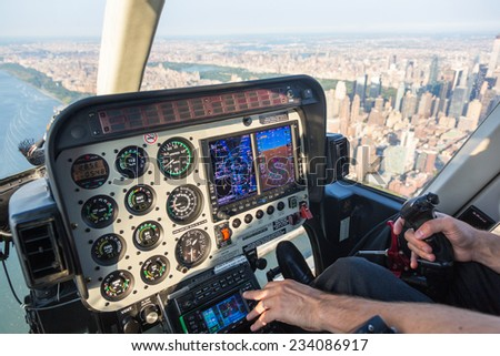 Helicopter Control Panel View While Flying - stock photo