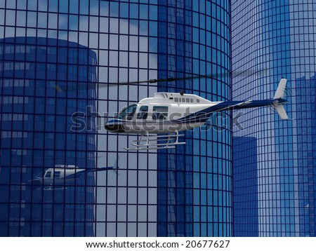 helicopter flight on a skyscraper background - stock photo