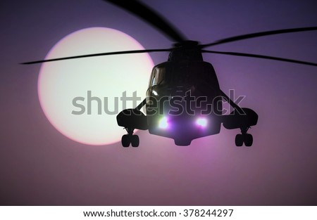 Helicopter flying at sunset - stock photo