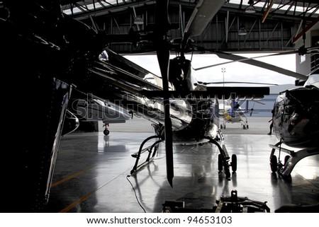 Helicopter hangar - stock photo