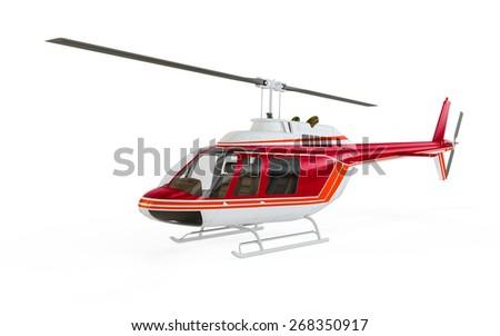 Helicopter isolated on white background - stock photo