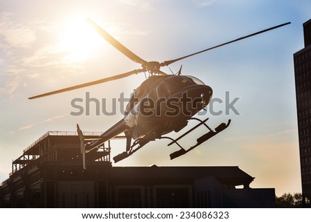 Helicopter Landing on the Pier - stock photo