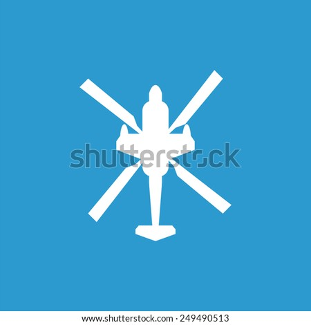 helicopter outline icon, isolated, white on the blue background. Exclusive Symbols  - stock photo