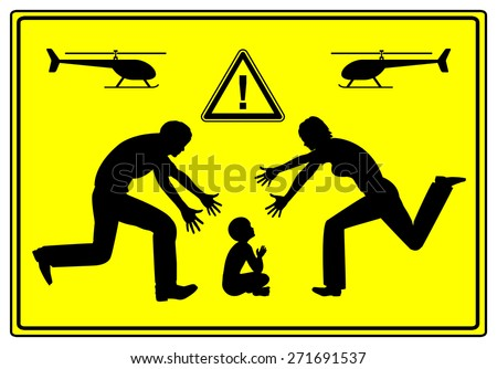 Helicopter Parents. Father and mother paying extremely close attention to their child causing problems in child development - stock photo