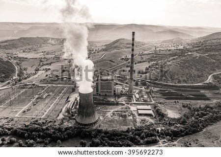 Helicopter shoot of the thermal power plant Pljevlja, only coal-fired power station in Montenegro. - stock photo