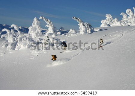Helicopter Skiing - stock photo