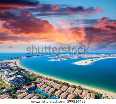 Helicopter view of Dubai Palm Island. - stock photo