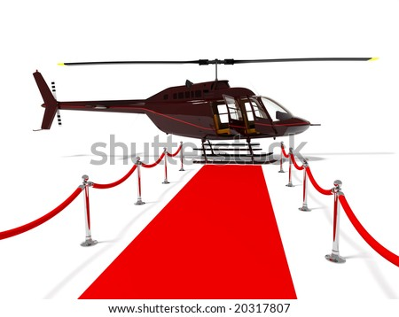helicopter with open doors on a white background (high resolution 3d rendered image) - stock photo