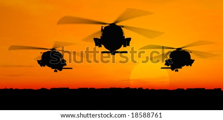Helicopters - stock photo