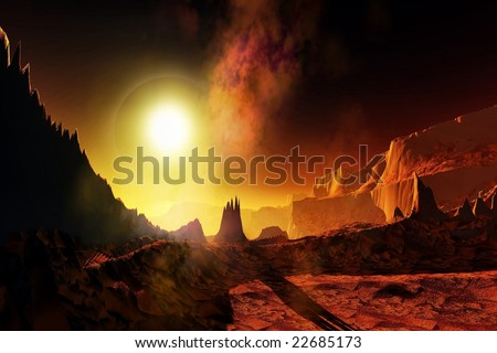 HELIOS - An alien planet with a huge glowing sun. - stock photo
