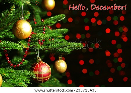 Hello December greeting card - stock photo