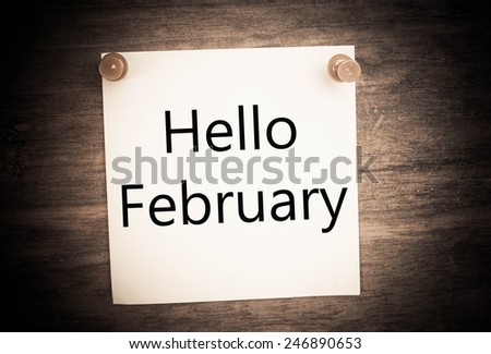 Hello February note paper  - stock photo