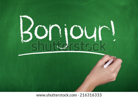 Hello in French - stock photo