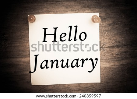 Hello January text on note paper  - stock photo