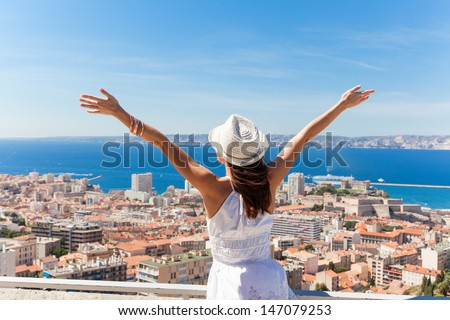 Hello Marseille! Girl welcomes the French city of Marseille. - stock photo