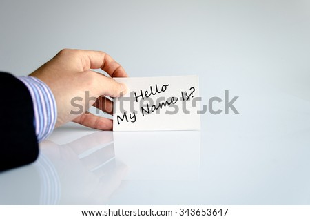 Hello my name is text concept isolated over white background - stock photo