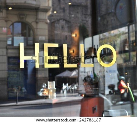 Hello sign in english language - stock photo