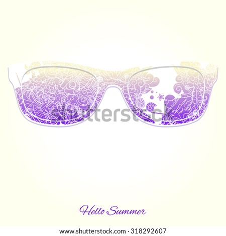 Hello summer sunglasses raster version, sunglasses, summer, pattern, background, silhouette - stock photo