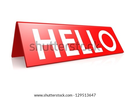 Hello tag in red - stock photo