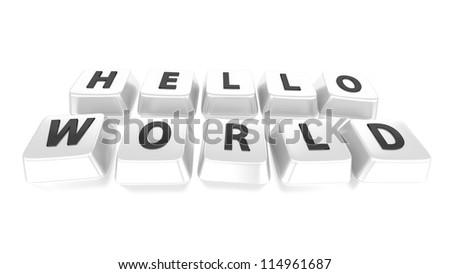 HELLO WORLD written in black on white computer keys. 3d illustration. Isolated background. - stock photo