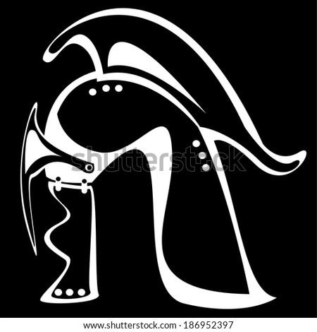 helm knight isolated on black background - stock photo