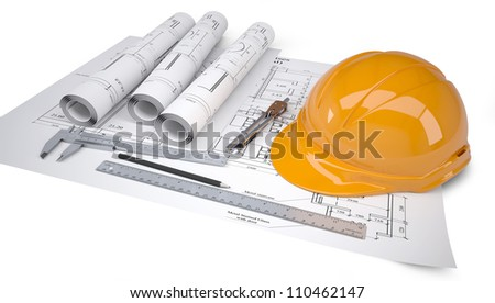 Helmet and tools for construction drawings. Isolated on white background - stock photo