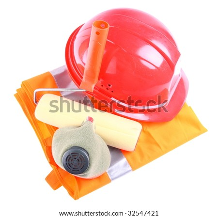 Helmet, respirator, jacket and applicator roll over white - stock photo