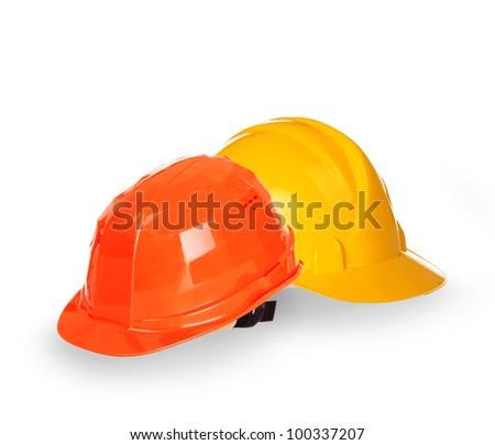 Helmets isolated on white background - stock photo