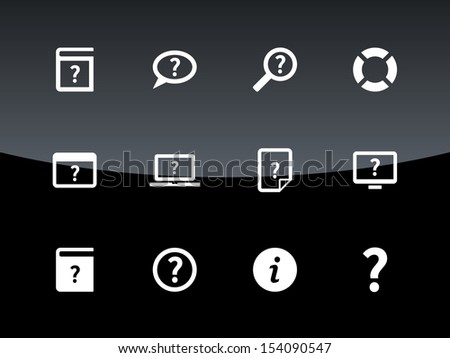 Help and FAQ icons on black background. See also vector version. - stock photo