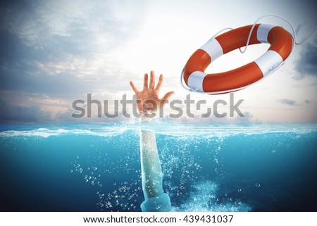 Help businessman falls - stock photo