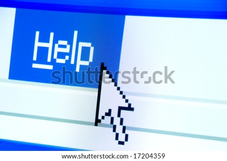 help button screenshot with a white cursor - stock photo