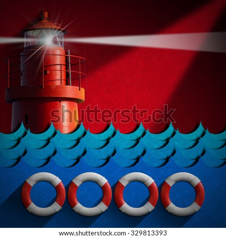 Help Concept - Lifebuoys and Lighthouse / Red and white lifebuoys, blue sea waves and red lighthouse on a red background with shadows. Concept of help or sos - stock photo