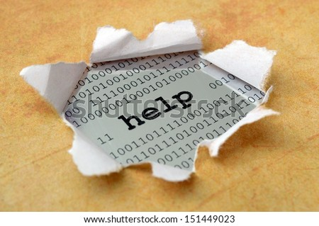 Help concept on paper hole - stock photo