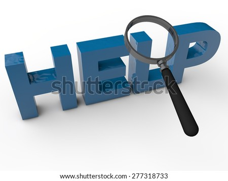 Help - 3D Text with magnifier over white Background - stock photo