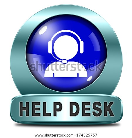 help desk blue icon or button or online support call center customer service - stock photo