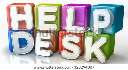 Help desk text concept on colorful cubes - stock photo