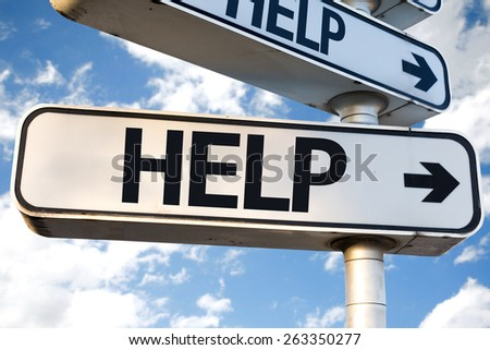 Help direction sign on sky background - stock photo