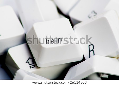 Help key on top of various other keys - stock photo