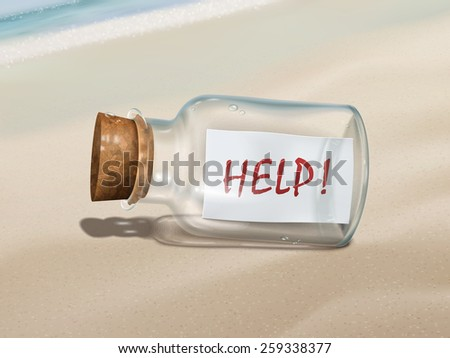 help message in a bottle isolated on beautiful beach - stock photo