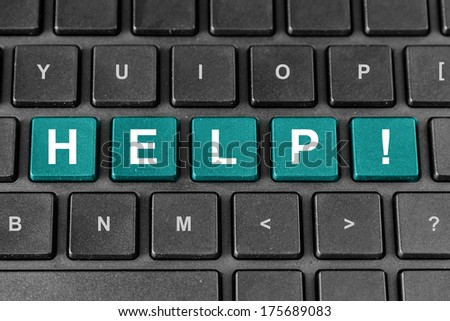 help pastel turquoise word on keyboard - stock photo