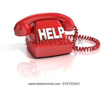 help phone 3d icon - stock photo