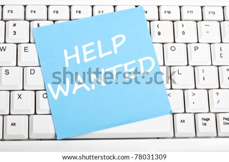 Help wanted mesage on keyboard - stock photo